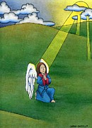 Christianity Drawings - Praying Angel by Sarah Batalka