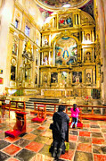 Illustrative Framed Prints - Praying at the Altar in Puebla Cathedral Framed Print by Mark E Tisdale