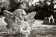 Praying Hands Prints - Praying Cemetery Angel Print by Angela Bonilla