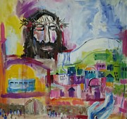 Shawl Painting Originals - Praying for Peace for Jerusalem by Paula Stacy Adams