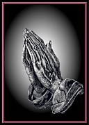 With Love Digital Art Framed Prints - Praying Hands Framed Print by Ronald Chambers