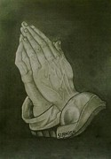 Albrecht Drawings Framed Prints - Praying Hands Framed Print by Subhash Mathew