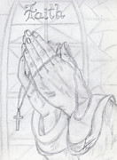 Pray Drawings Framed Prints - Praying Hands Framed Print by Susan Turner
