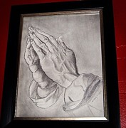 Religious Drawings Originals - Praying Hands by Witney Algeo
