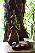 Praying Metal Prints - Praying Statue - Panviman Chiang Mai Spa and Resort - Chiang Mai Thailand - 01131 Metal Print by DC Photographer
