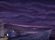 Visionary Art Painting Prints - Pre-Dawn On The Hi-Line VI Print by Scott Kirby