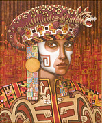 Head Dress Framed Prints - Pre-Inca 1 Framed Print by Jane Whiting Chrzanoska