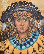 Gold Necklace Posters - Pre-Inca 3 Poster by Jane Whiting Chrzanoska