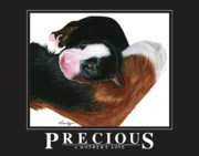 Bernese Mountain Dog Posters - Precious - A Mothers Love Poster by Liane Weyers