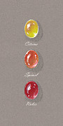 Gouache Jewelry - Precious Citrine Ruby Spinel by Marie Esther NC
