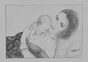 Precious Drawings Prints - Precious Gift of God- Mother Print by Rajesh Kalbhor