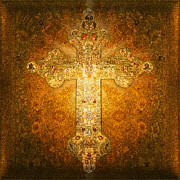 Valuable Mixed Media Metal Prints - Precious Holy Cross Metal Print by Li   van Saathoff