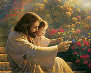 Blue Flowers Painting Posters - Precious In His Sight Poster by Greg Olsen