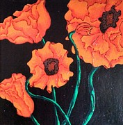 Painted Glass Art - Precious Poppies by Wendy Blye