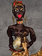 African American Cloth Doll Sculptures - Pregnant Mermaid Nursing Child by Cassandra George Sturges