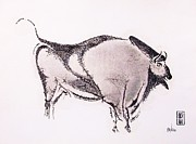 Buffalo Drawings Prints - Prehistoric Bison Print by Pg Reproductions