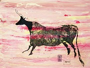 Cave Drawings Prints - Prehistoric Cattle  2 Print by Pg Reproductions