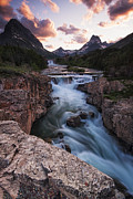 Swiftcurrent Falls Framed Prints - Prelude to Dreams Framed Print by Mark Kiver