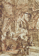 Ink Drawings - Preparatory drawing for plate number VIII of the Carceri alInvenzione series by Giovanni Battista Piranesi