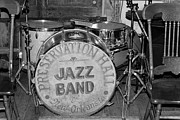 Drum Kit Prints - Preservation Hall Jazz Band Drum BW Print by Bradford Martin