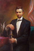 Honor Painting Framed Prints - President Abraham Lincoln Framed Print by Svitozar Nenyuk
