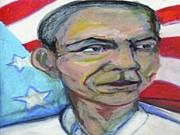 President Obama Mixed Media Prints - President Barack Obama  Print by Derrick Hayes