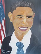 Barack Obama Painting Framed Prints - President  Barack Obama Framed Print by John Onyeka