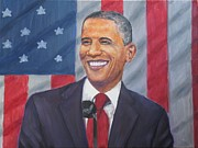 President Of The Usa Painting Prints - President Barak Obama Print by Samuel Daffa