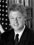 Bill Clinton Photo Framed Prints - President Bill Clinton Framed Print by War Is Hell Store