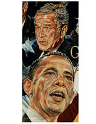 George Bush Paintings - President Bush and Obama by Alex Krasky