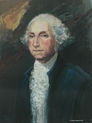 Army Commander Paintings - President George Washington by Kaziah Hancock