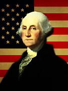 President George Washington V3 Print by Wingsdomain Art and Photography