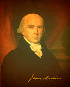 James Mixed Media Posters - President James Madison Portrait and Signature Poster by Design Turnpike
