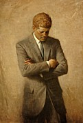 Lobby Art Paintings - President John F. Kennedy Official Portrait by Aaron Shikler by Movie Poster Prints