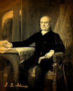 Signature Mixed Media Prints - President John Quincy Adams Portrait and Signature Print by Design Turnpike