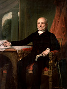 July 4th Painting Framed Prints - President John Quincy Adams  Framed Print by War Is Hell Store