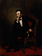 Lincoln Portrait Framed Prints - President Lincoln  Framed Print by War Is Hell Store