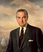 Lyndon Baines Johnson Prints - President Lyndon Johnson Painting Print by War Is Hell Store