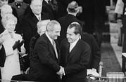 President Lyndon Johnson Warmly Shakes Print by Everett