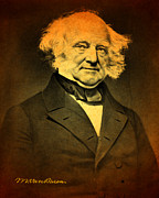 Signature Mixed Media Prints - President Martin Van Buren Portrait and Signature Print by Design Turnpike