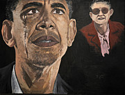 Barack Obama Painting Prints - President Obama and Grandmom Print by Roger  James