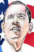 Barrack Obama Metal Prints - President Obama Metal Print by Andres LaBrada