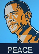 Obama Mixed Media Metal Prints - President Obama Metal Print by Gunter E  Hortz