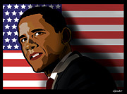 President Obama Digital Art Prints - President Obama Print by Sandi Fender