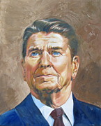 Reagan Painting Framed Prints - President Reagan Framed Print by Claudia Kilby