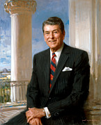 Republican Paintings - President Ronald Reagan Official Portrait by War Is Hell Store