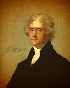 Thomas Mixed Media Metal Prints - President Thomas Jefferson Portrait and Signature Metal Print by Design Turnpike