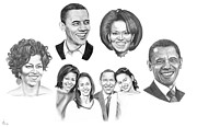 Obama Family Drawings - Presidential by Murphy Elliott