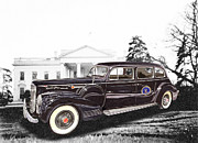 Lincoln City Mixed Media Posters - Presidential Parade car 1941 Packard 180 presidential limousine Poster by Jack Pumphrey