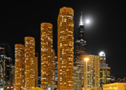 Night Scene Framed Prints - Presidential Towers Chicago Framed Print by Christine Till